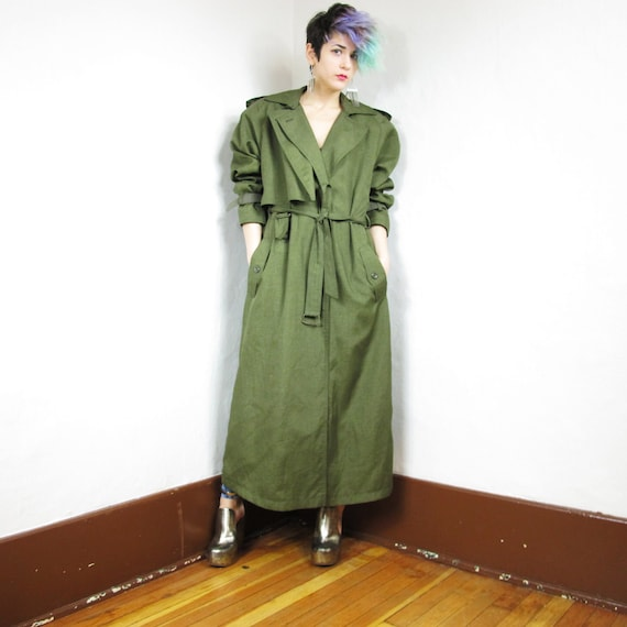 80s Avant Garde Army Green Trench Coat (M/L)