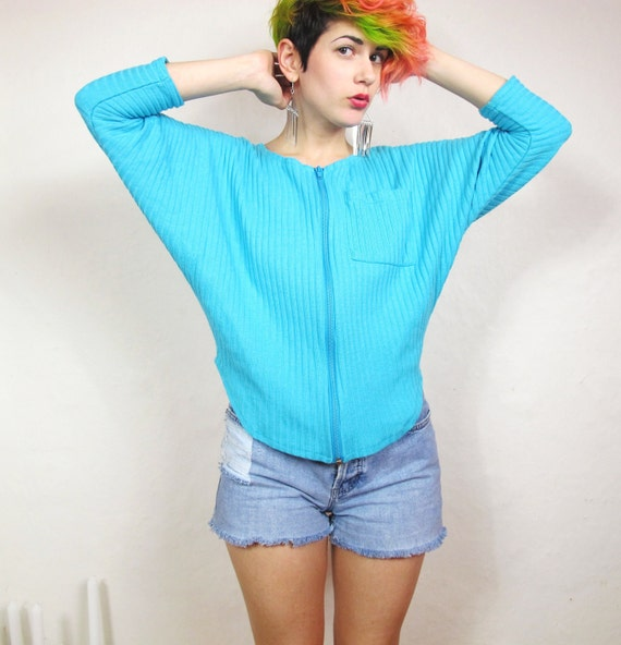 S A L E 80s Turquoise Rib Knit Batwing Cardigan (S/M)