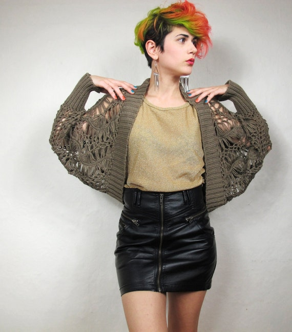 S A L E Avant Garde Coffee Crochet Shawl Cardigan (S/M)