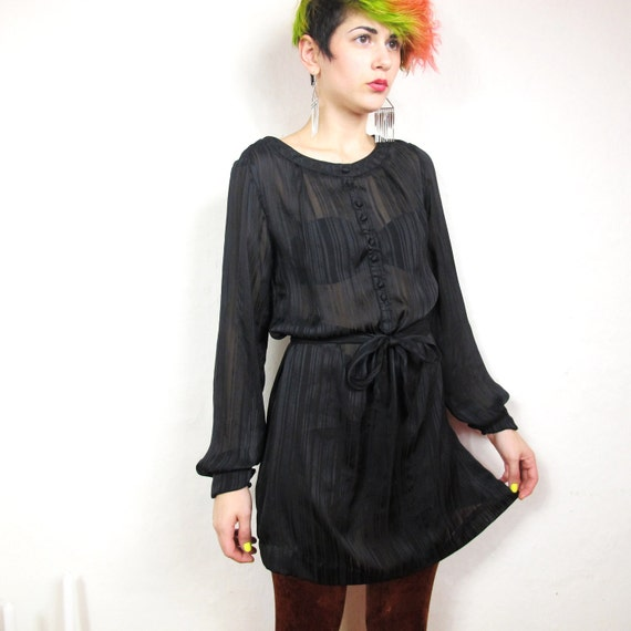 90s Gothic Sheer Striped Belted Shirt Dress (XS/S)