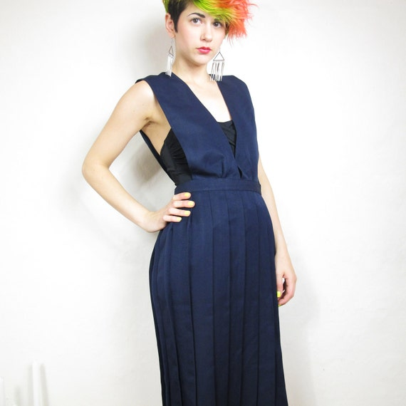 80s Navy Classy School Girl Overall Pleated Dress (S/M)