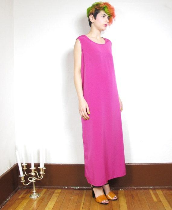 90s Fuschia Column Maxi Dress (L/XL))