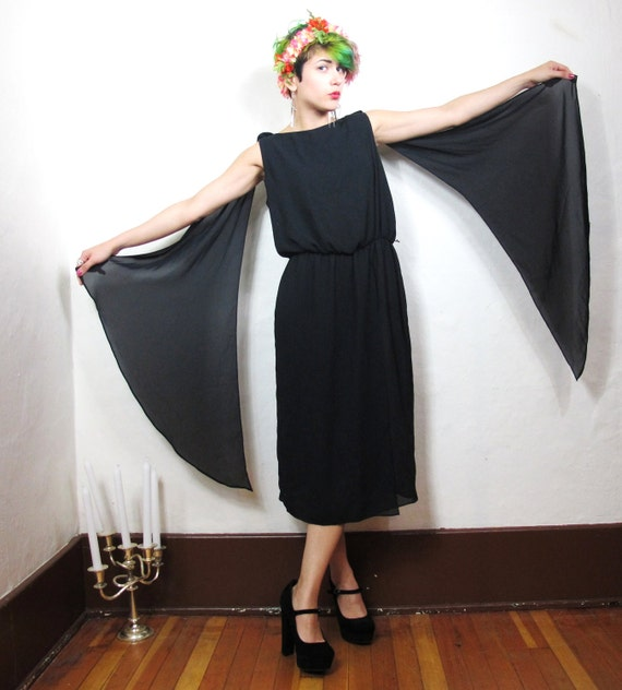 Grecian Sheer Black Draped Drama Dress (S/M)