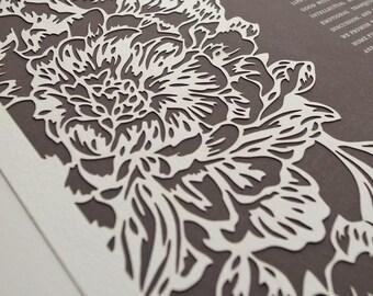 Ketubah Papercut by Jennifer Raichman - Peonies