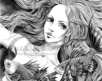 Mermaid - 8 x 10 giclee print