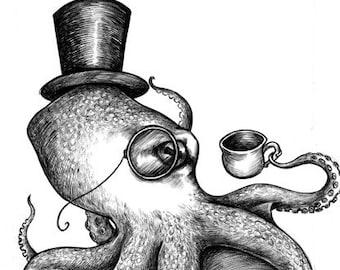 Genteel Octopus - 8 x 10 giclee print by Z Akhmetova