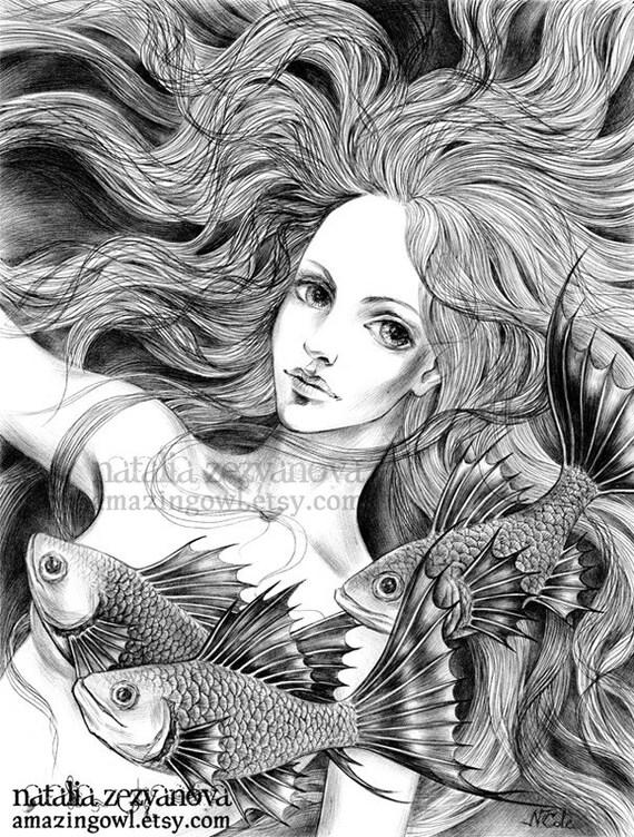 Mermaid - 8 x 10 giclee print