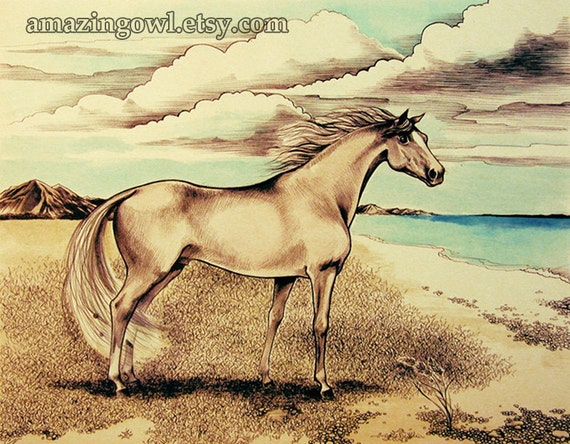 Horse on the Beach - 8 x 10 giclee print