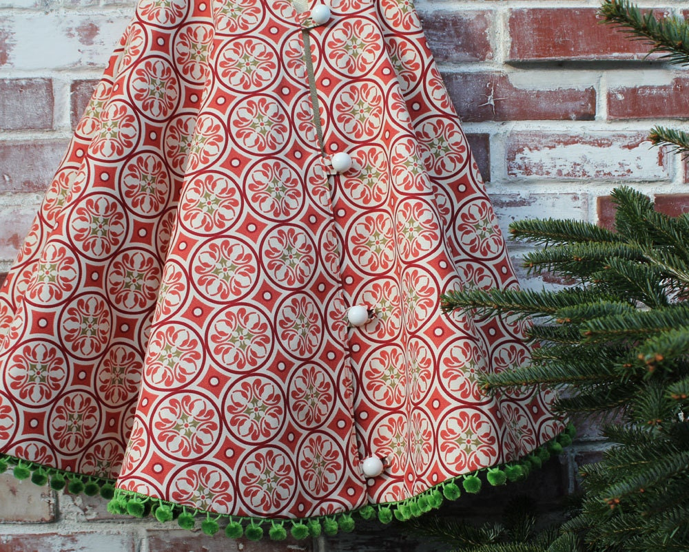 Christmas tree skirt red retro circle with by littleorangeroom