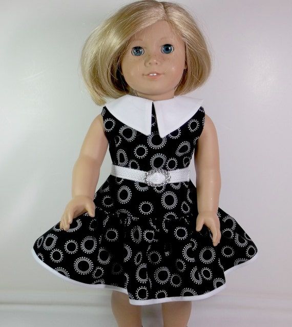 American Girl Doll Clothes 18 inch Doll Dress -  Black Dress White Collar and Ruffled Skirt Back to School Toys