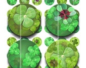 Buy 2 GET 1 FREE - Instant Download - Four Leaf Clover - Lucky Charms Collage Sheet - 1 inch circles for pendants, bottle caps, stickers 192