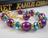 ON SALE Childrens Jewelry for Little Girls Bracelet Purple and Blue Special Occasion Jewelry