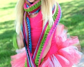 Sparkle Scarf Colorful Scarf for Tween Girls Teenage Girl Crochet Scarf Multicolor scarf Neon Scarf Cute Scarf Sparkly Scarf Fun Scarf