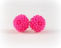 Hot Pink Earrings Flower Jewelry Surgical Steel Post for Sensitive Ears Cute Earrings Pink Flower Earrings for Girls Tween Jewelry Neon Pink
