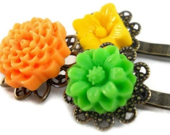Cute Bobby Pins, Flower Bobby Pin Set, Teen Hair Accessories, Green Yellow Orange, Citrus Trio, Gifts Under 10, Gifts Under 5, Summer Hair