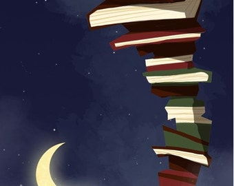 Books in Space | TALL 6x12 Fine Art Print | Little Boy Reading on Tall Stack of Books, Children's or Nursery Room | Flimflammery