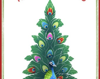 Holiday Card 10 Pack   5x7 BLANK   Peacock Feather Christmas Tree    Flimflammery