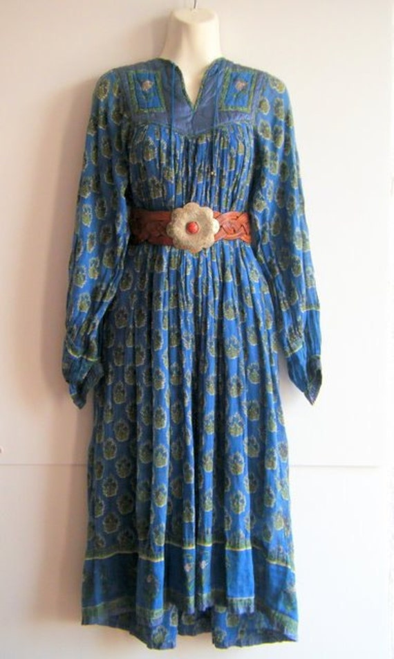 Reserved for Hannah....1960's 70's INDIAN COTTON Dress Gauzy Gypsy block printed blue with SATIN Yoke and Trim, size s