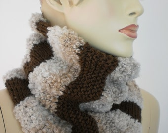 Knit Scarf, Chunky Hand Knitted Cowl Scarf -  Neck Warmer - Winter Accessories- ready to ship