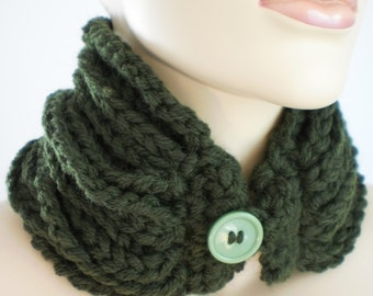 Dark green Chain Crochet Cowl Crochet Scarf  Knit scarf Neck Warmer Winter Accessories - ready to shir