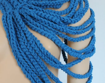 On Sale 20% OFF Crochet Blue Loop Chain Scarf  - Cowl Scarf - Neck Warmer