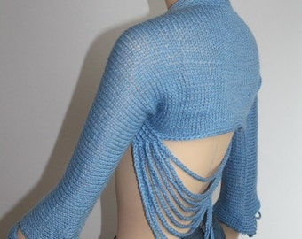 Blue Chain Hand knit Crochet Shrug Bolero Fall  Fashion - size XS - S - ready to ship