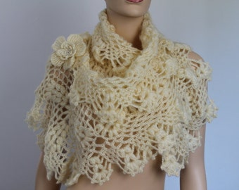 Cream Crochet  Lace  Wedding Shawl Wrap Shrug Capelet - Holiday Accessories