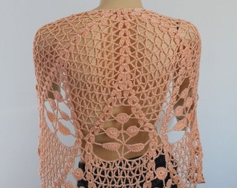 Apricot Cotton Lace Crochet Shawl  - Holiday Accessories - Fall Wedding