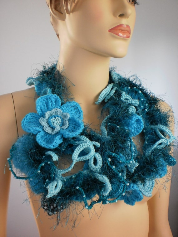 Long Crochet Scarf with Flower Pin / Lariat Scarf / Fall Fashion