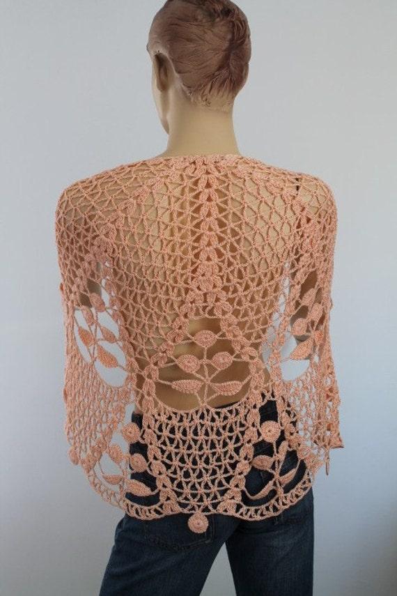 Apricot Cotton Lace Crochet Shawl  - Holiday Accessories - Fall Wedding