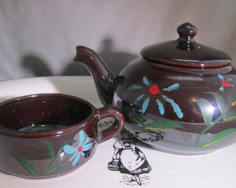 Sweet Petite Luster Ware Pottery Teapot and Creamer Mid Century