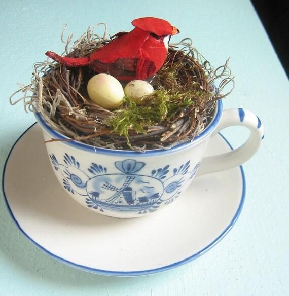 Vintage China Teacup OOAK Bird Nest in a Teacup/ Spring