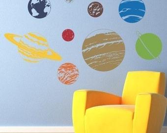Planet Wall Decal Set - Solar System Sticker Wall Decor - Children Wall Decals