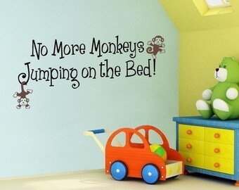 No More Monkeys Jumping on the Bed Decal - Outline Vinyl Wall Art - Children Wall Decals