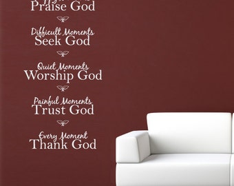 Happy Moments Wall Sticker - Praise God Decal - Christian Quote Wall Decal