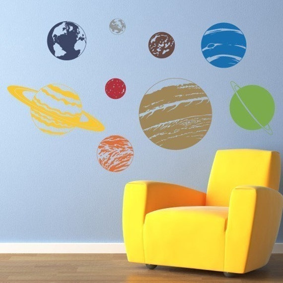 Planet Wall Decal Set Solar System Sticker Wall Decor