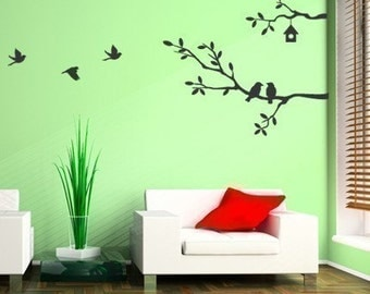 Cute Birds and Branches Decal - Vinyl Wall Sticker - MED