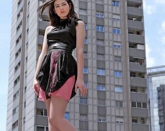 Formal Black Lace and Satin Halter Dress Pink Chiffon, Retro Party Dress Asymmetrical Hem, Alternative Short Wedding Dress, Made To Measure