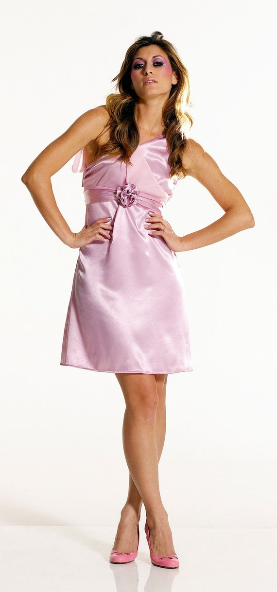 Pink Short Bridesmaid Dress Empire Waist One Shoulder, Blush Wedding Dress, Pastel Pink Goddess Style Cocktail Dress Satin and Chiffon