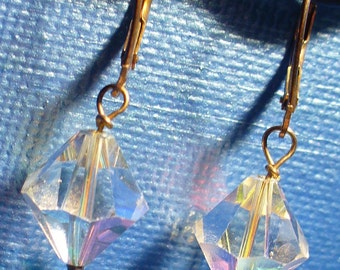 Handmade OOAK brilliant crystal and blue dangle earrings with sterling silver leverbacks.