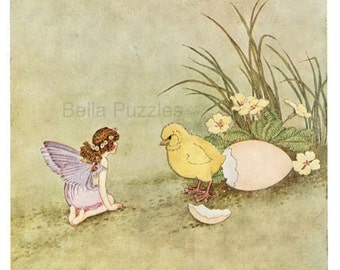 Wooden jigsaw puzzle. FAIRY and CHICK. Outhwaite. Vintage illustration.  Wood, handcut, handcrafted, collectible. Bella Puzzles.