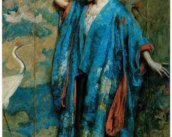 Hand-cut wooden jigsaw puzzle. BLUE KIMONO WOMAN. Robert Reid painting. Wood, collectible. Bella Puzzles.