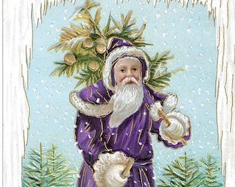 Hand-cut wooden jigsaw puzzle. PURPLE CHRISTMAS SANTA. Vintage illustration. Wood, grandparent gift. Bella Puzzles.