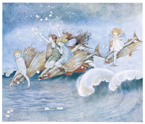 Wooden jigsaw puzzle. SEA FAIRIES and NAUTILUS. Outhwaite. Vintage illustration. Wood, handcut, handcrafted, collectible. Bella Puzzles.