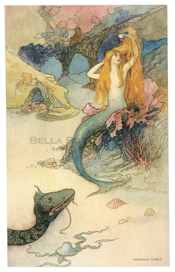Wooden jigsaw puzzle. MERMAID BRUSHING HAIR. Warwick Goble. Vintage illustration. Wood, handcut, handcrafted, collectible. Bella Puzzles.