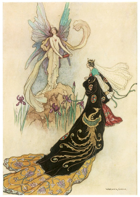 Wooden jigsaw puzzle. FAIRY QUEEN MAJESTY. Warwick Goble. Vintage illustration. Wood, handcut, handcrafted, collectible. Bella Puzzles.