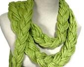 Lime Green Braided Scarf, Fashion Scarf