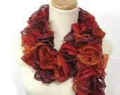 Sunset Orange Scarf. Ruffle Scarf, Fall Accessory, Hand Knit Scarf, Knit Scarf, Womens Scarf, Fiber Art