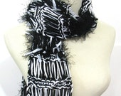 Reserved for Kimberly Black and White Hand Knit Scarf - Zebra