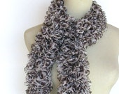 Animal Print Hand Knit Ruffled Scarf - Brown White